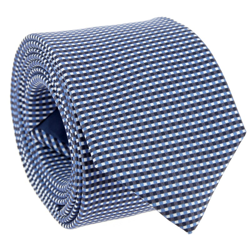 Blue checked Silk The Nines Tie - Damville