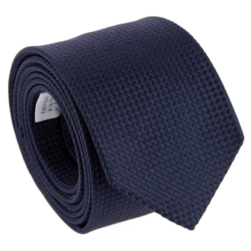 Navy Blue Silk Basket Weave The Nines Tie - Chantilly