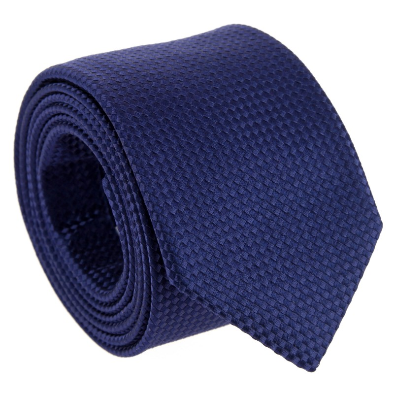 Midnight Blue Silk Basket Weave The Nines Tie - Chantilly