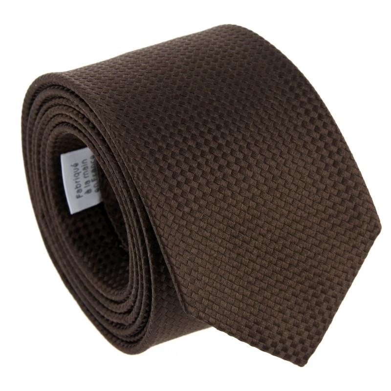Brown Silk Basket Weave The Nines Tie - Chantilly