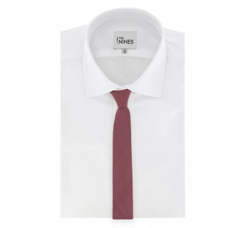 Semi-Plain Red Skinny Tie The Nines with Gingham Pattern - Basildon