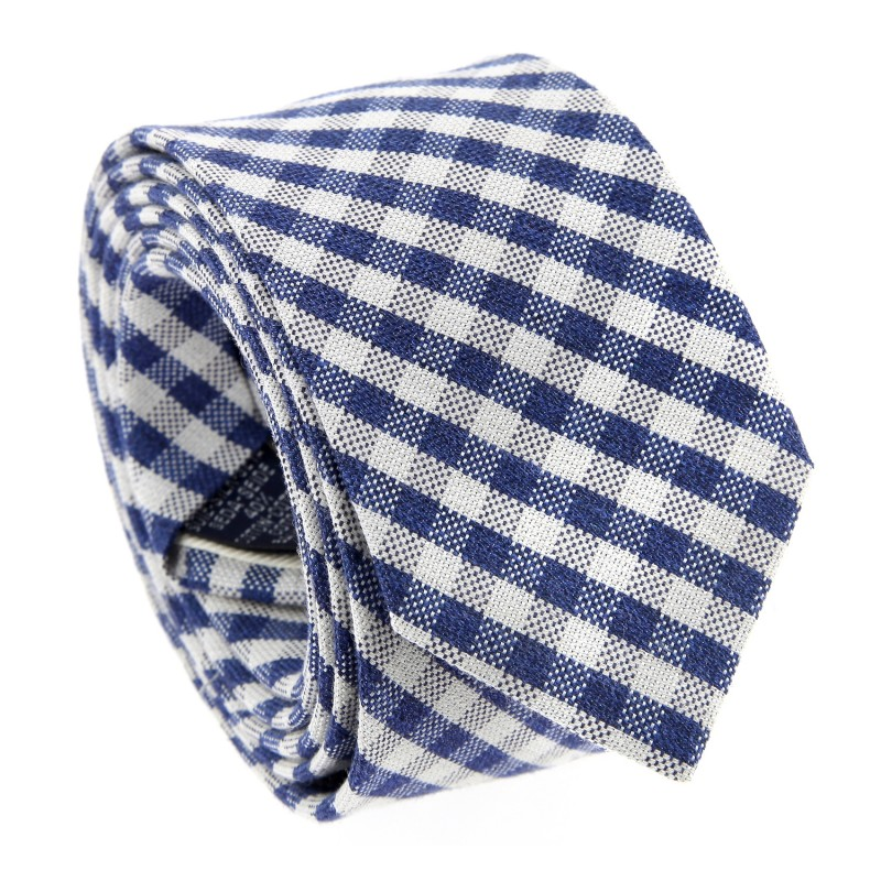 Navy Blue Gingham Silk Slim The Nines Tie - Ostia