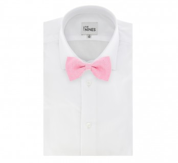 Light Pink Basket Weave Linen and Silk Bow Tie - Parme
