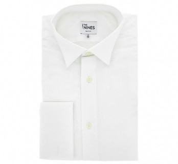 Slim Fit White Poplin Wing Collar French Cuff Shirt for Ascots