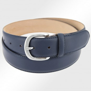 Leather belt in dark blue - Morgan