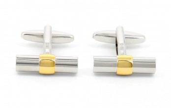 Gold cylindrical cufflinks - Corinthe