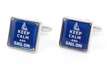 Sailing cufflinks - Keep Calm and Sail On