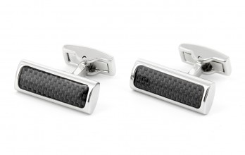Rectangular carbon cufflinks - County