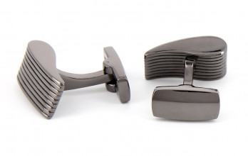 Gunmetal rectangular cufflinks - Manhattan II