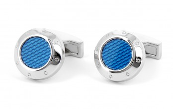 Round blue carbon cufflinks - Donington