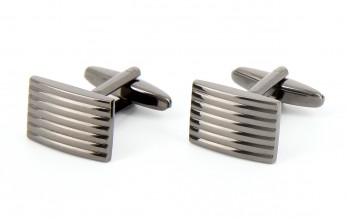 Gunmetal rectangular cufflinks - Manhattan