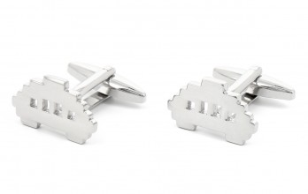 Silver cufflinks - Space Invader
