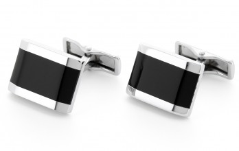 Black, rectangular cufflinks - Fifth Avenue
