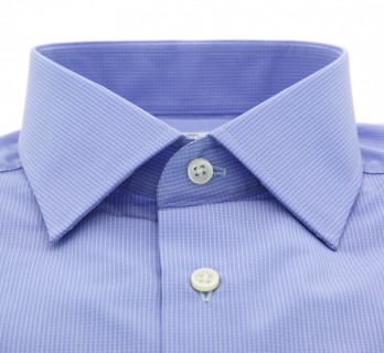 Slim Fit Blue Check Classic Collar Shirt