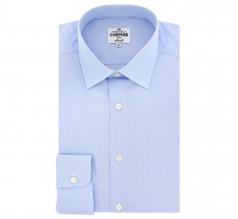 White and Blue Stripes Classic Collar Shirt Slim Fit
