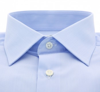 Slim Fit White and Blue Stripes Classic Collar Shirt