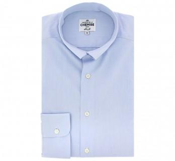 Slim Fit Light Blue Poplin Reverse Collar Shirt