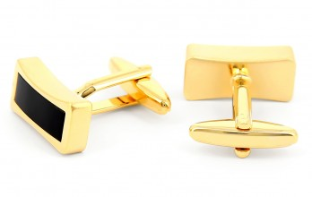 Onyx gold rectangular cufflinks - Tuileries