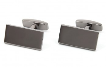 Rectangular gunmetal cufflinks - Brompton