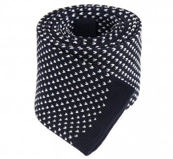 Navy Knit Tie With White Patterns - San Marino