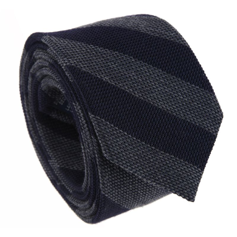 Basket Weave Silk and Wool The Nines Tie With Navy Blue and Grey Stripes