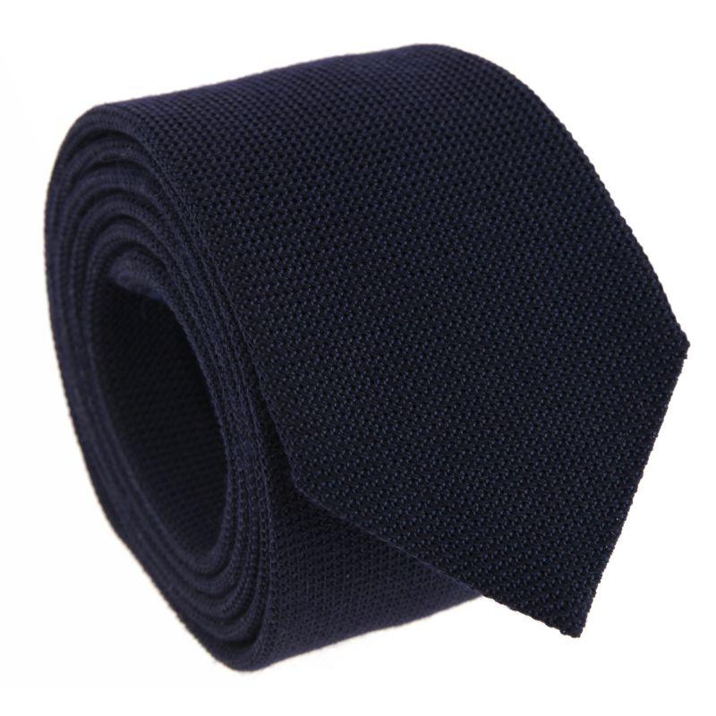 Navy Blue Grenadine Silk and Wool The Nines Tie