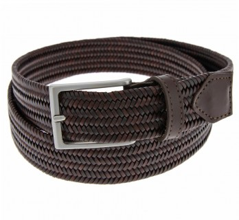Braided Belt in dark brown leather - Rob