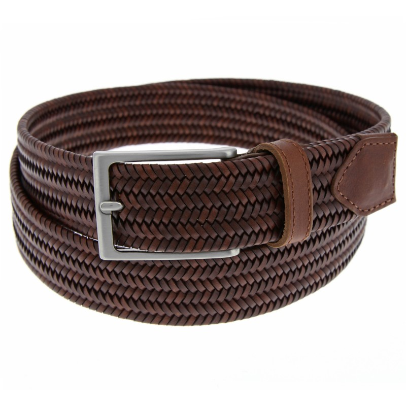 brown leather braided belt