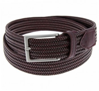BURGUNDY LEATHER BRAIDED BELT