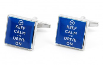 Quote cufflinks - Keep Calm and Drive on