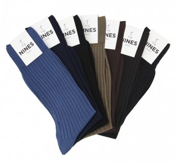 Pack of 7 pairs of lisle thread socks, classical colours