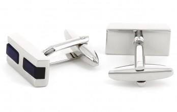 Rectangular navy blue cufflinks - Faubourg