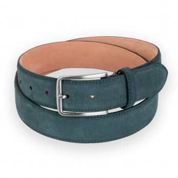 Men\'s belt in forest green suede - Tom