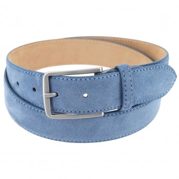 Men's belt in denimblue suede - Tom