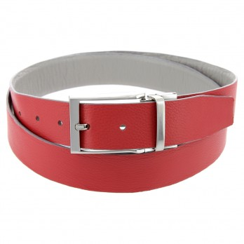 MATT REVERSIBLE GREY AND RED LEATHER BELT