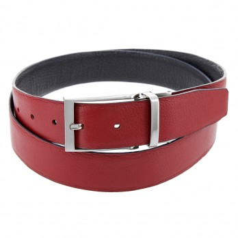 MATT REVERSIBLE NAVY BLUE AND RED LEATHER BELT
