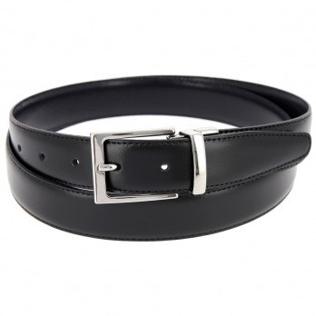 Reversible belt in black and navy blue - James