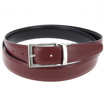 THE NINES FINE REVERSIBLE BLACK AND BURGUNDY BELT - RIGHT ANGLED BUCKLE