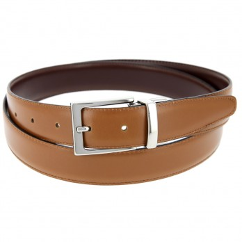 THE NINES FINE REVERSIBLE CAMEL AND BROWN BELT - RIGHT ANGLED BUCKLE