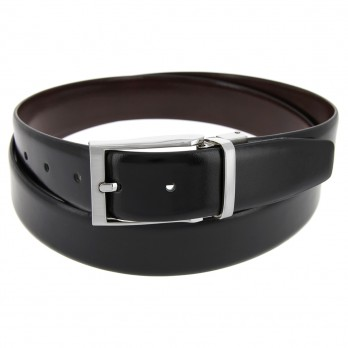 MATT REVERSIBLE BLACK AND BROWN SMOOTH LEATHER BELT
