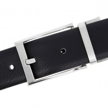 Reversible belt in black and anthracite - Matt