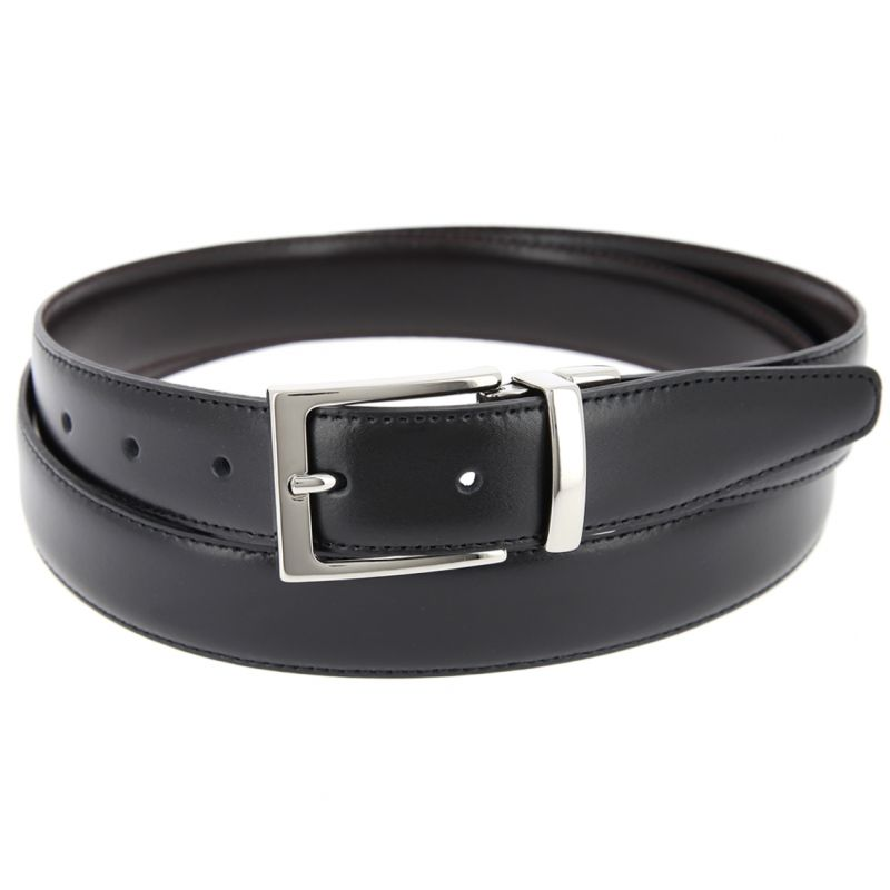 THE NINES FINE REVERSIBLE BLACK AND BROWN BELT - RIGHT ANGLED BUCKLE