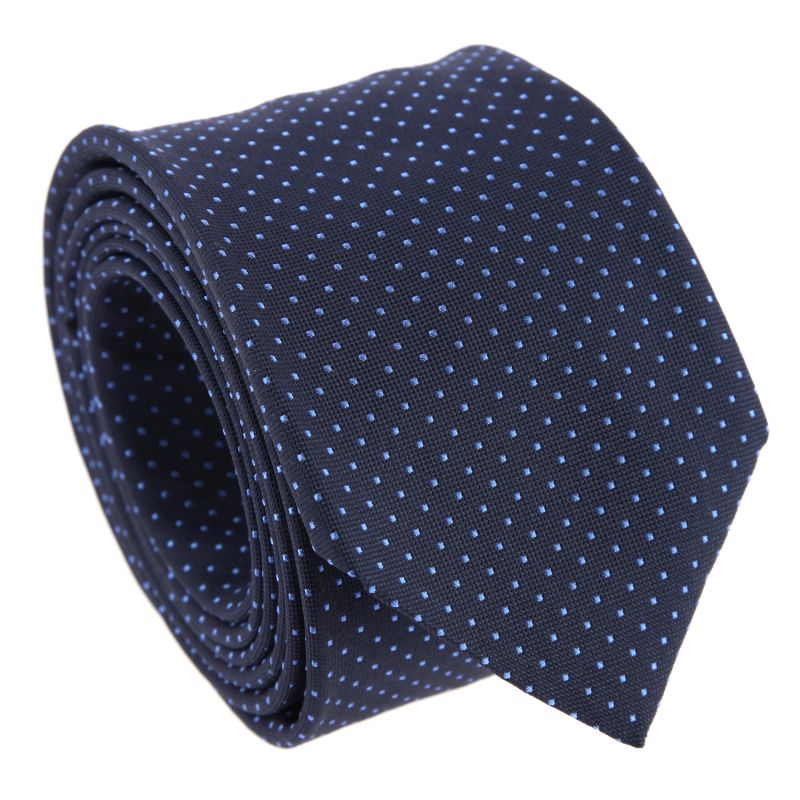 Navy Blue with Light Blue Dots The Nines Tie