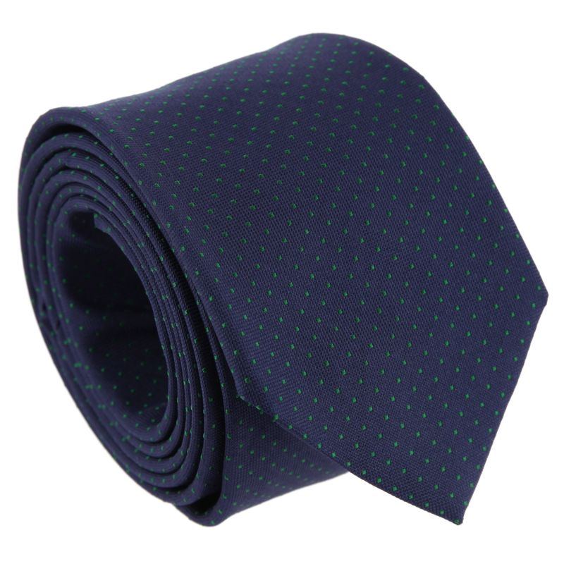 Navy Blue with Green Dots The Nines Tie