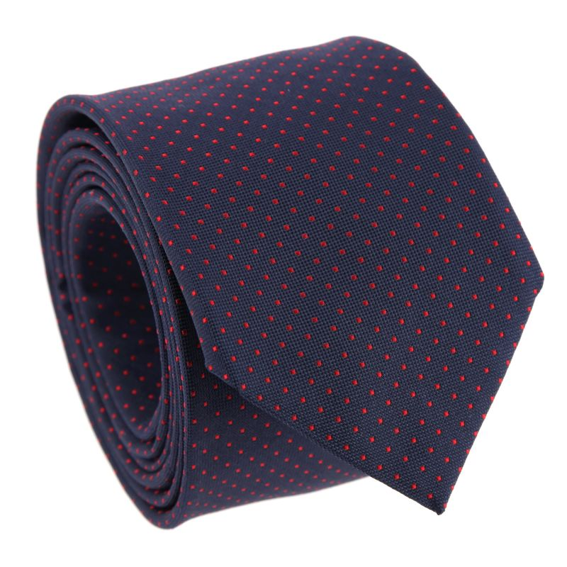 Navy Blue with Red Dots The Nines Tie