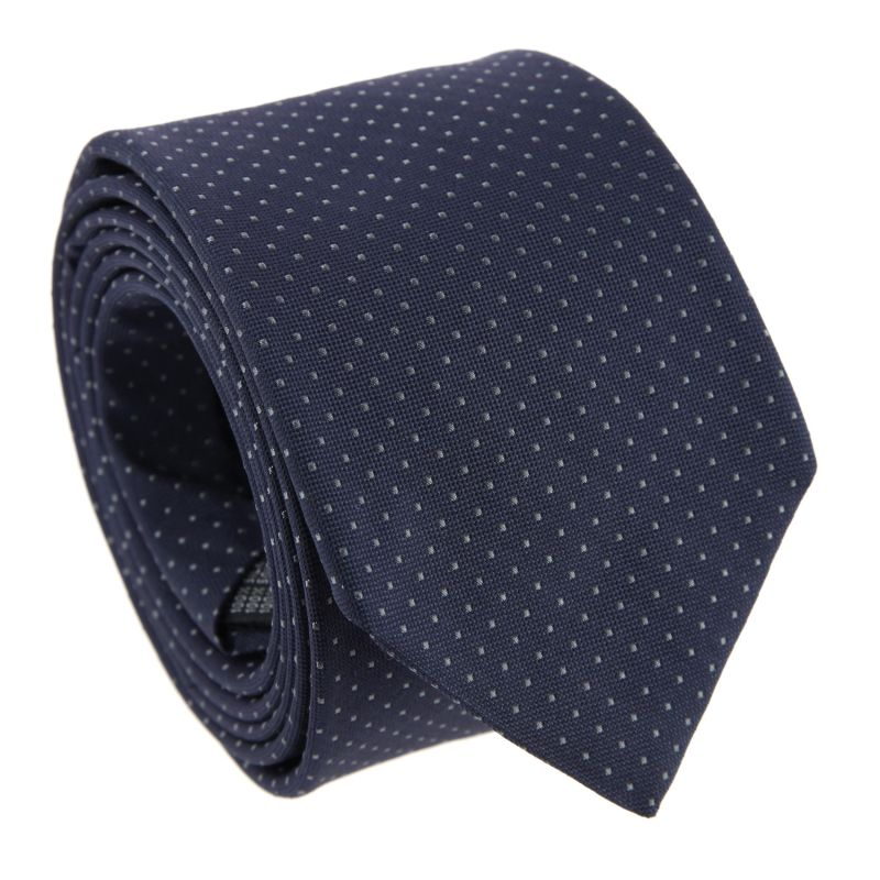 Navy Blue with Grey Dots The Nines Tie