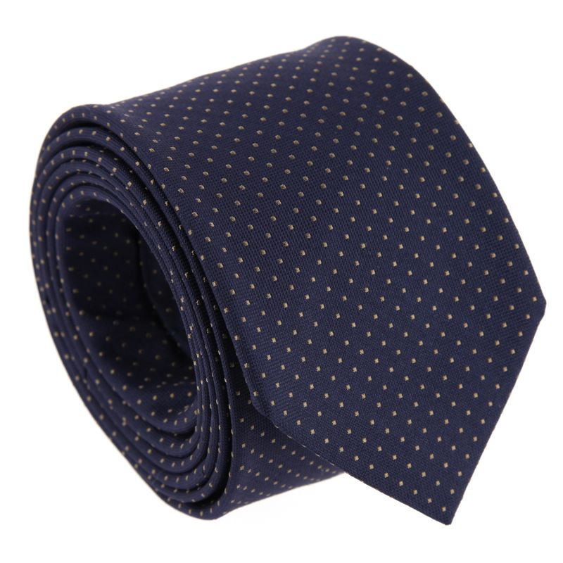 Navy Blue with Light Brown Dots The Nines Tie