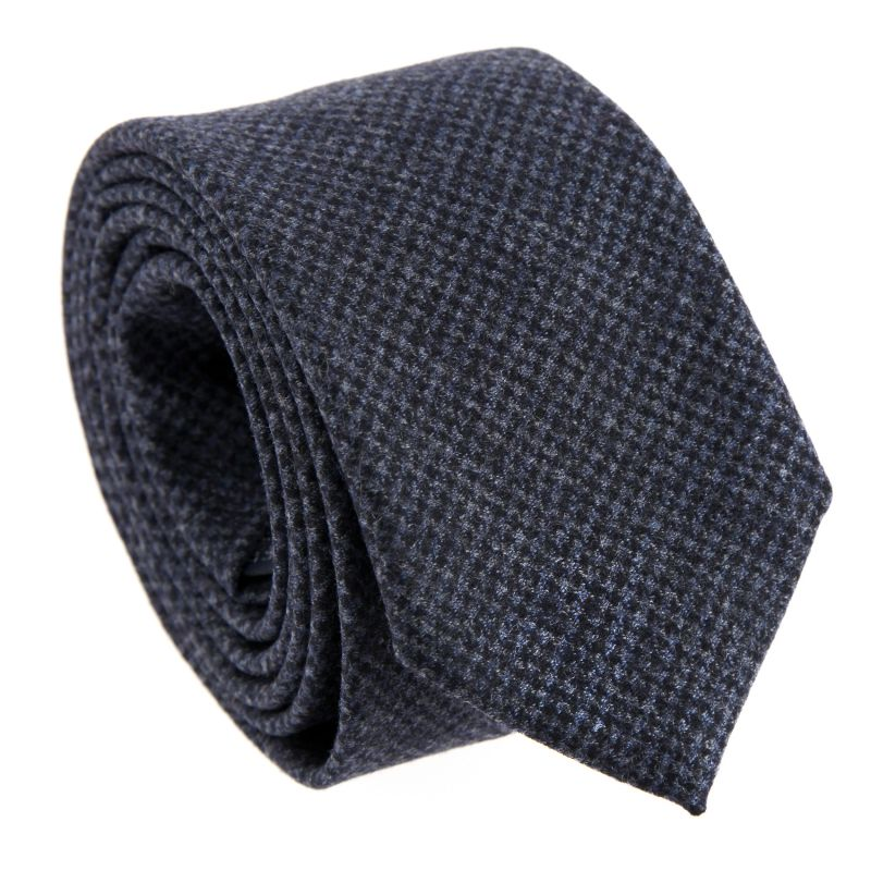 Grey Wool and Cashmere The Nines Tie with Houndstooth Pattern