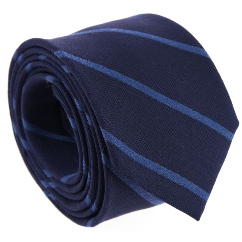 Navy Blue and White Striped The Nines Narrow Tie - New Haven