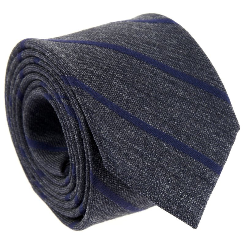 Navy Blue and Grey Striped The Nines Tie